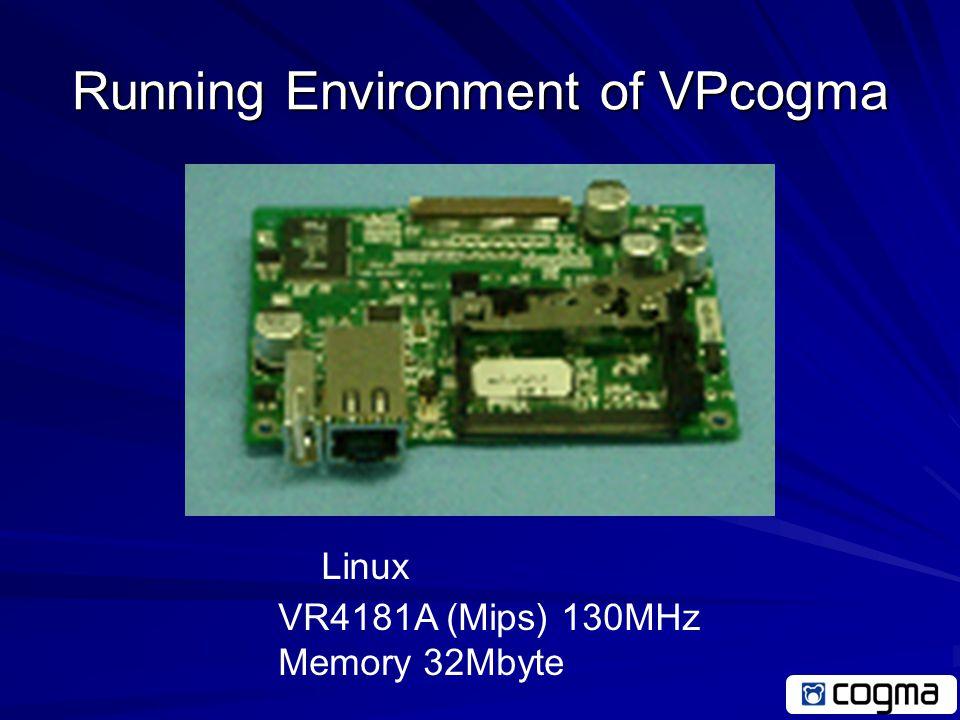 Running Environment of VP cogma OpenBlocks Linux PowerPC 405GP 200MHz Memory 64Mbyte