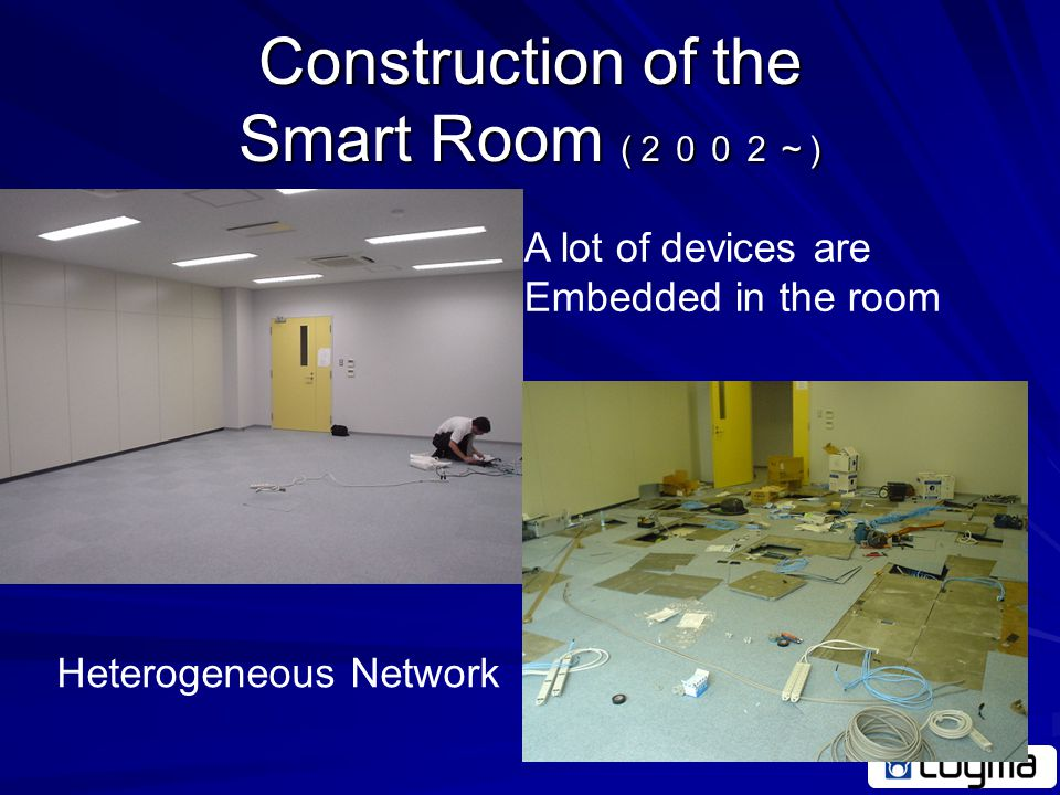 Requirements for Test bed Test in Real World Environment is required –Exemplify the usefulness –Cooperation of Appliances –Heterogeneous Networks –Long-term experiments Construct a Smart Room