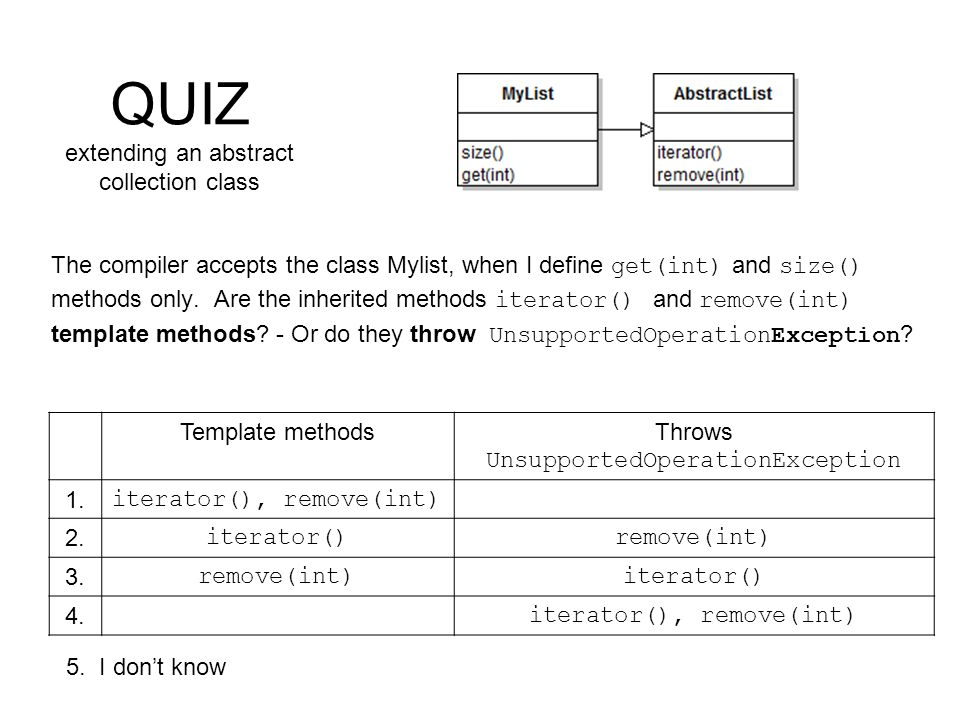 QUIZ extending an abstract collection class The compiler accepts the class Mylist, when I define get(int) and size() methods only.