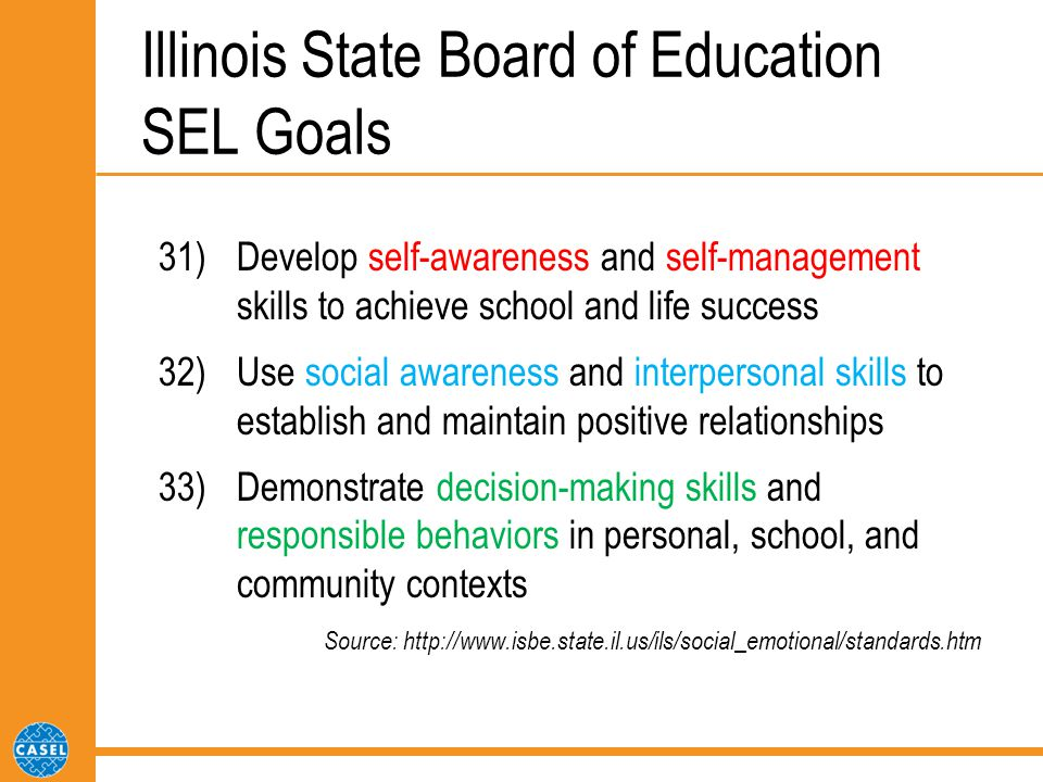 Illinois State Board of Education SEL Goals 31) Develop self-awareness and self-management skills to achieve school and life success 32) Use social awareness and interpersonal skills to establish and maintain positive relationships 33) Demonstrate decision-making skills and responsible behaviors in personal, school, and community contexts Source: http://www.isbe.state.il.us/ils/social_emotional/standards.htm