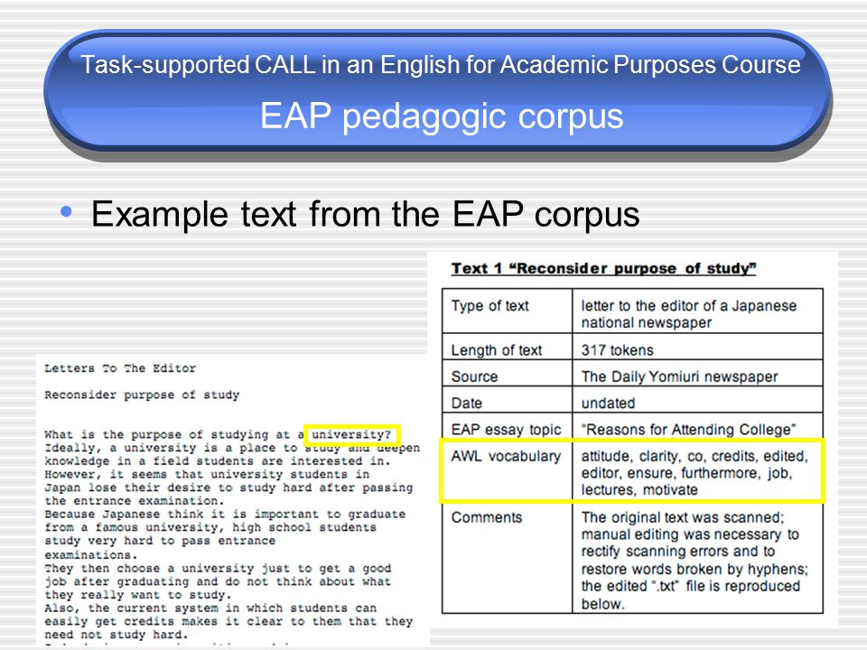 Task-supported CALL in an English for Academic Purposes Course EAP pedagogic corpus Example text from the EAP corpus