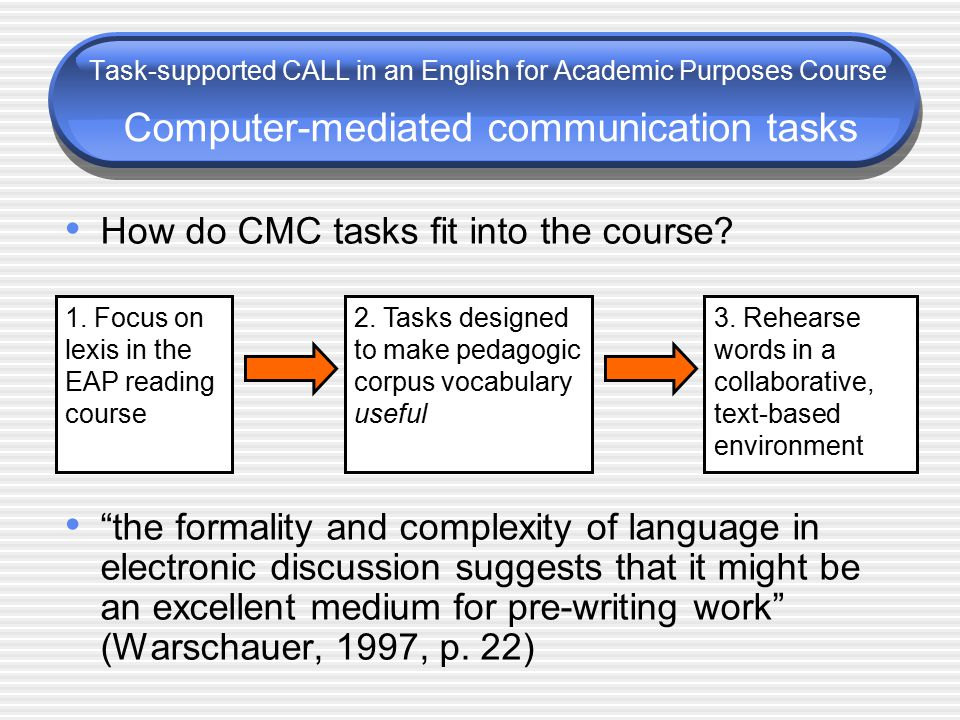 How do CMC tasks fit into the course.