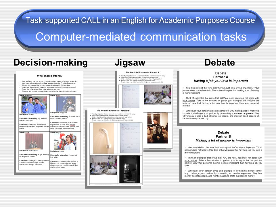 Classroom procedures: Students did three CMC tasks in dyads Task sheets were distributed at the start of class Teachers provided a brief oral explanation Students logged in to the chat 20 minutes allocated for each task… Task-supported CALL in an English for Academic Purposes Course Computer-mediated communication tasks