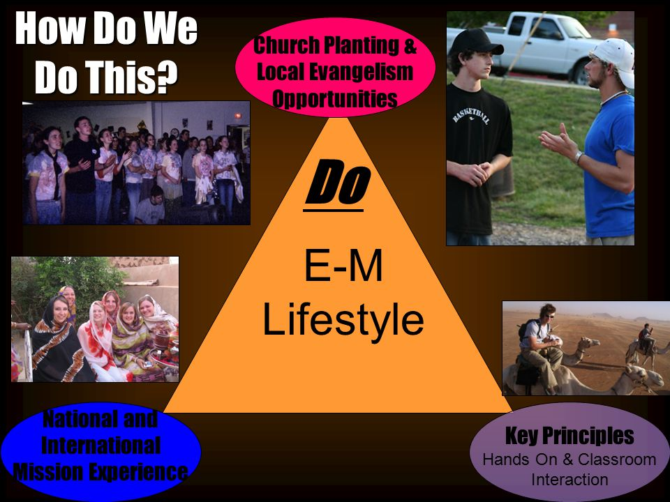 E-M Lifestyle How Do We Do This? Key Principles Hands On & Classroom Interaction Church Planting & Local Evangelism Opportunities Do National and Inte