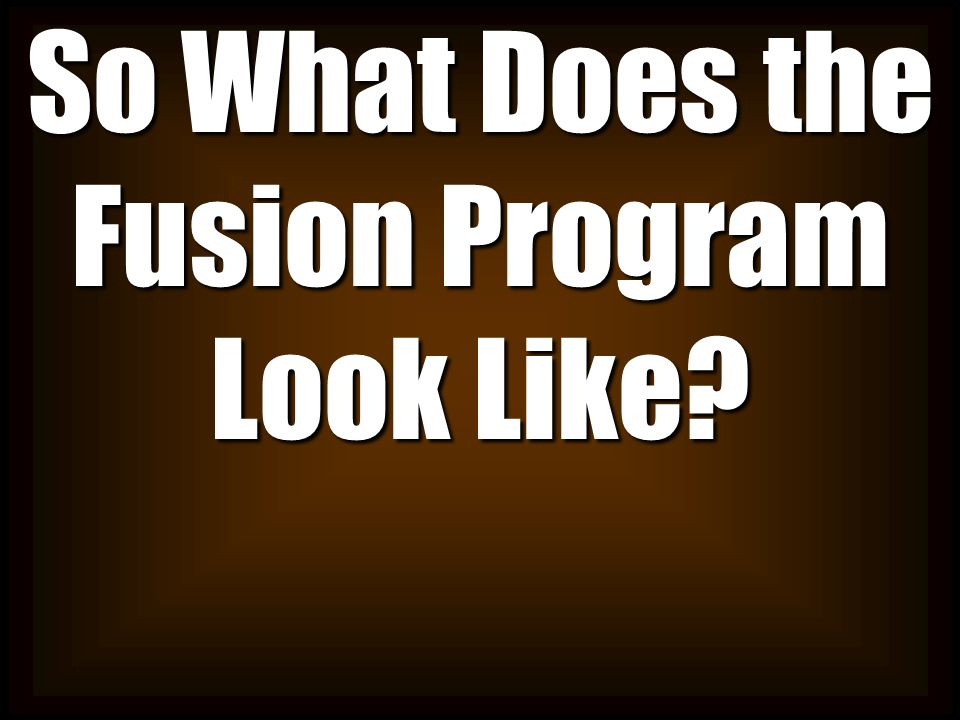 So What Does the Fusion Program Look Like