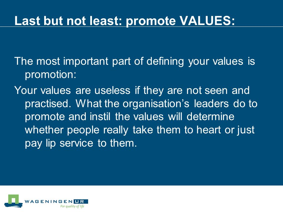 Last but not least: promote VALUES: The most important part of defining your values is promotion: Your values are useless if they are not seen and practised.