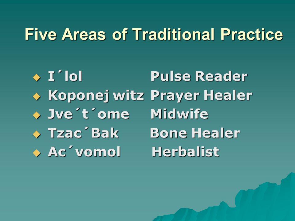 Five Areas of Traditional Practice  I´lolPulse Reader  Koponej witzPrayer Healer  Jve´t´omeMidwife  Tzac´Bak Bone Healer  Ac´vomol Herbalist
