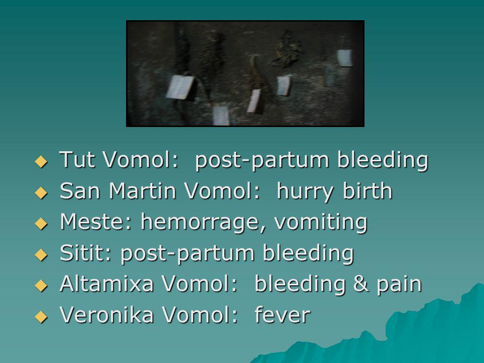  Tut Vomol: post-partum bleeding  San Martin Vomol: hurry birth  Meste: hemorrage, vomiting  Sitit: post-partum bleeding  Altamixa Vomol: bleeding & pain  Veronika Vomol: fever