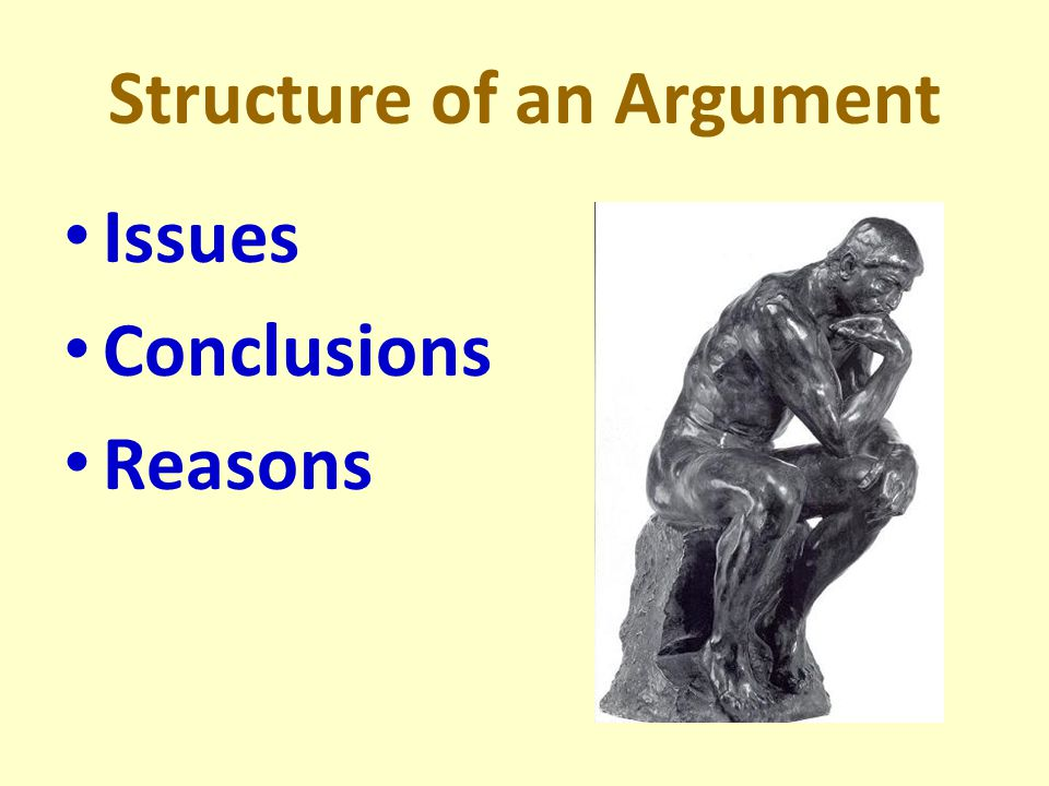 Structure of an Argument Issues Conclusions Reasons
