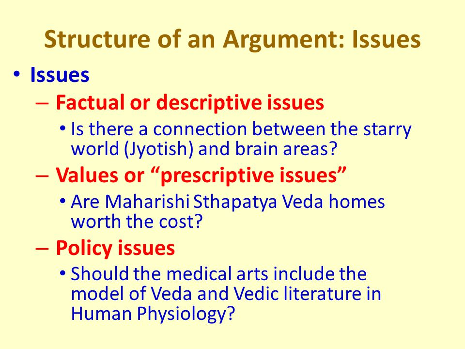 Structure of an Argument: Issues Issues – Factual or descriptive issues Is there a connection between the starry world (Jyotish) and brain areas.
