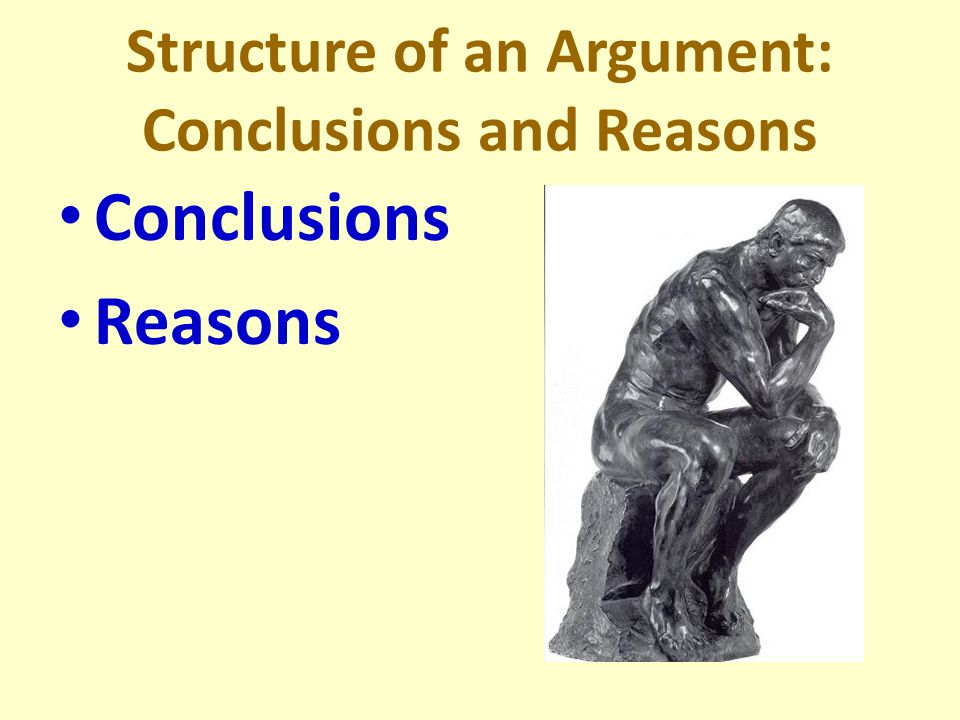 1.The critical thinker understands the structure of an argument, recognizes the issues under discussion and examines the reasons given to support conclusions.