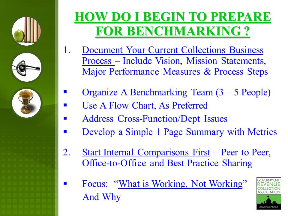 1.Document Your Current Collections Business Process – Include Vision, Mission Statements, Major Performance Measures & Process Steps  Organize A Benchmarking Team (3 – 5 People)  Use A Flow Chart, As Preferred  Address Cross-Function/Dept Issues  Develop a Simple 1 Page Summary with Metrics 2.Start Internal Comparisons First – Peer to Peer, Office-to-Office and Best Practice Sharing  Focus: What is Working, Not Working And Why HOW DO I BEGIN TO PREPARE FOR BENCHMARKING