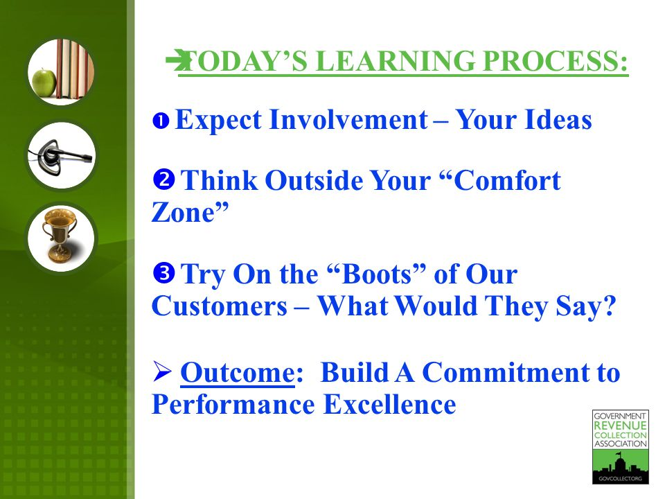 TODAY'S LEARNING PROCESS:  Expect Involvement – Your Ideas  Think Outside Your Comfort Zone  Try On the Boots of Our Customers – What Would They Say.