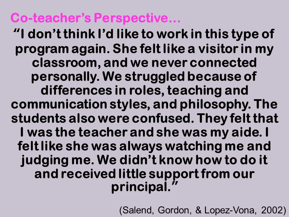 Co-teacher's Perspective… I don't think I'd like to work in this type of program again.