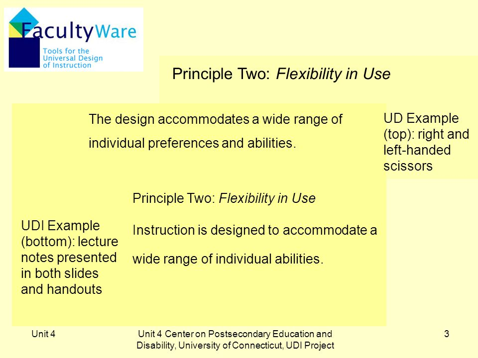 Unit 4Unit 4 Center on Postsecondary Education and Disability, University of Connecticut, UDI Project 3 Principle Two: Flexibility in Use Instruction is designed to accommodate a wide range of individual abilities.