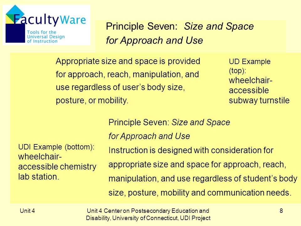 Unit 4Unit 4 Center on Postsecondary Education and Disability, University of Connecticut, UDI Project 9 UDI Principle Eight: A Community of Learners The instructional environment promotes interaction and communication between students and among students and faculty.