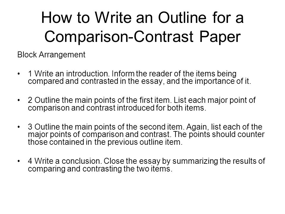 Comparison/Contrast Essay Outline A Contrast - ESL Flow