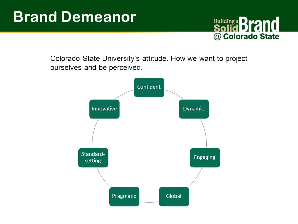 Brand Demeanor Colorado State University's attitude.