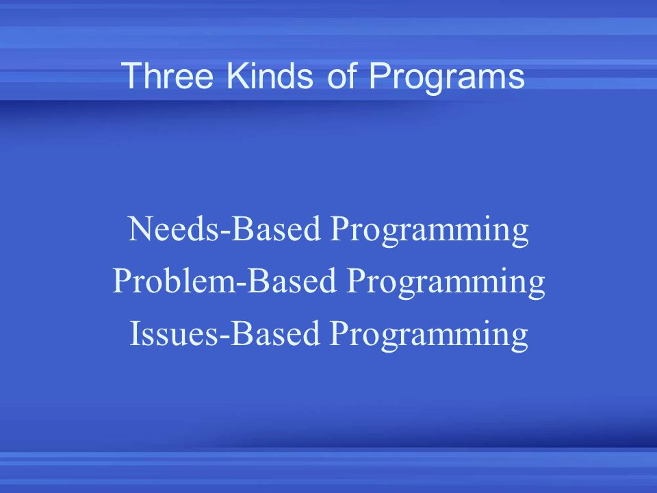 Needs-Based Programming Problem-Based Programming Issues-Based Programming Three Kinds of Programs