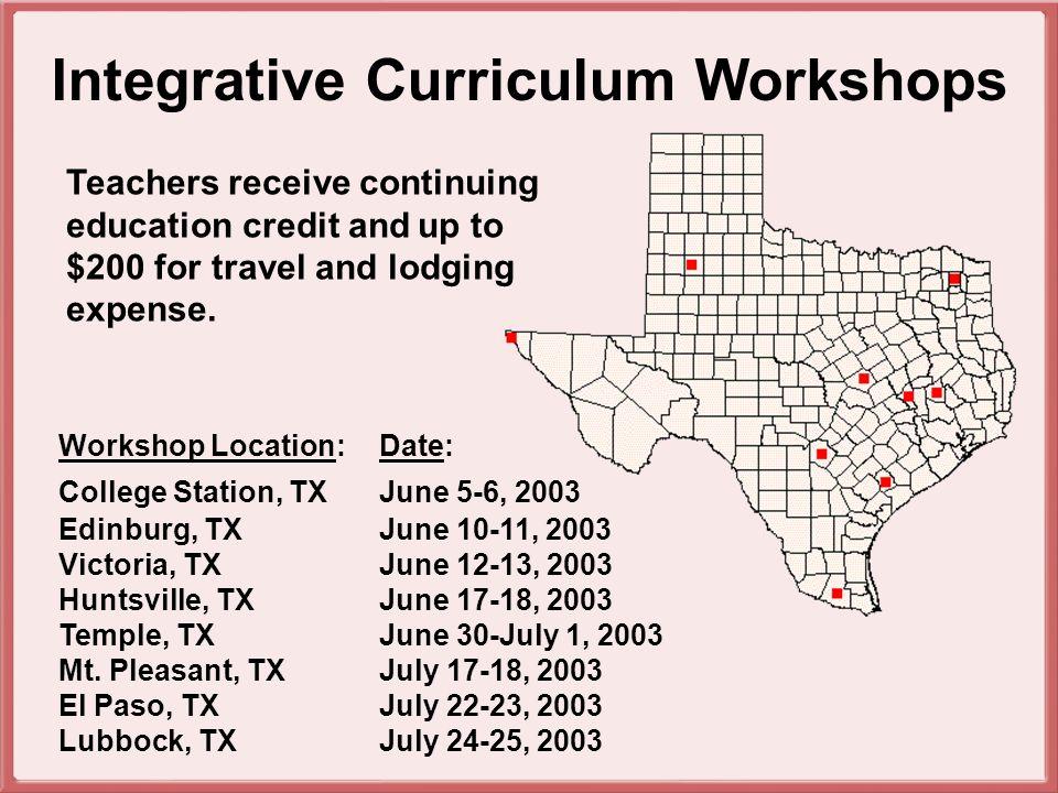 Workshop Location:Date: College Station, TXJune 5-6, 2003 Edinburg, TXJune 10-11, 2003 Victoria, TXJune 12-13, 2003 Huntsville, TX June 17-18, 2003 Temple, TX June 30-July 1, 2003 Mt.