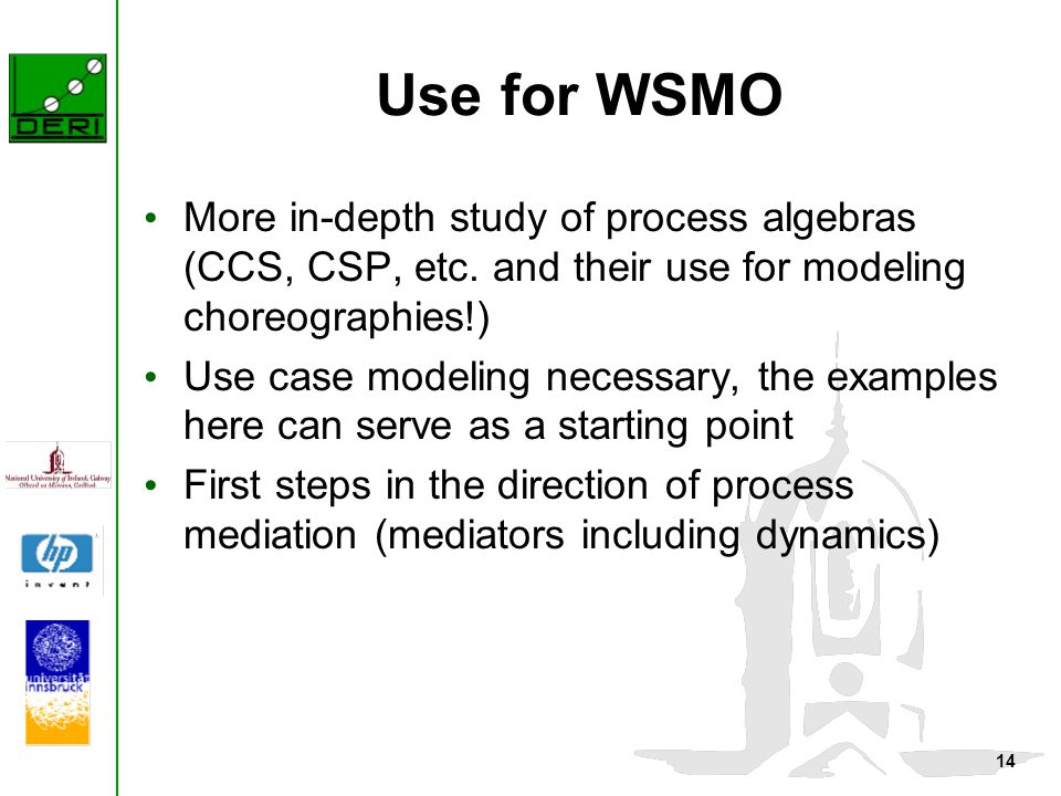 14 Use for WSMO More in-depth study of process algebras (CCS, CSP, etc. and their use for modeling choreographies!) Use case modeling necessary, the e