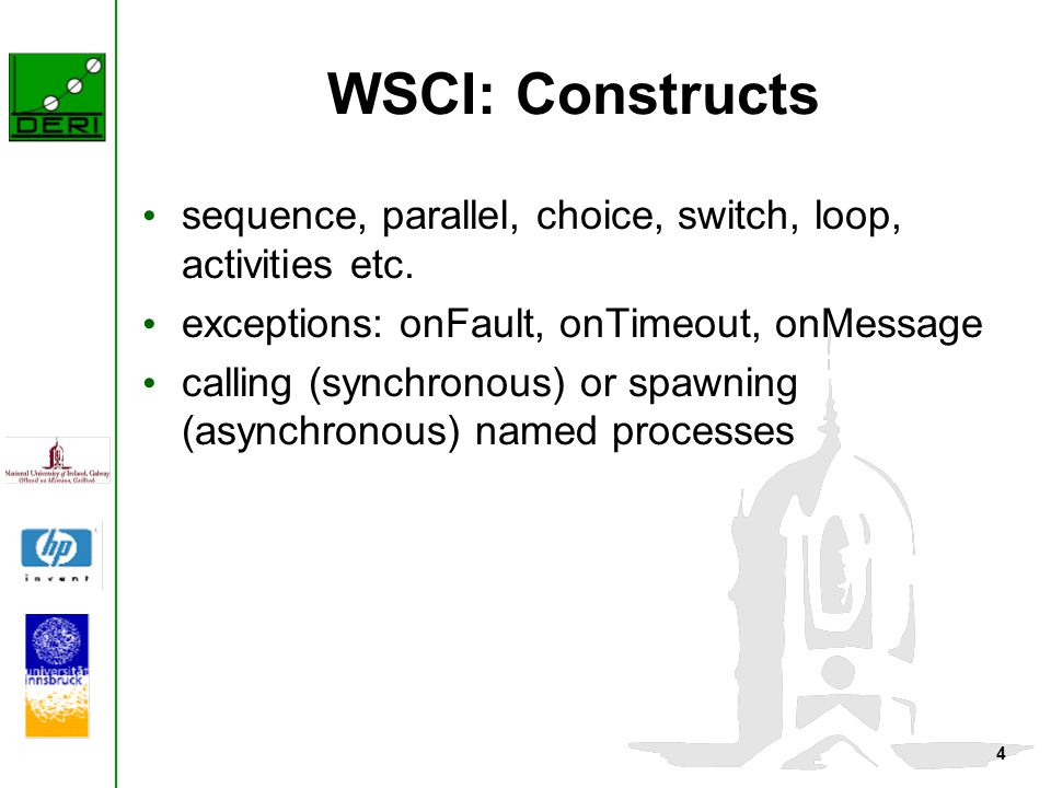 4 WSCI: Constructs sequence, parallel, choice, switch, loop, activities etc. exceptions: onFault, onTimeout, onMessage calling (synchronous) or spawni