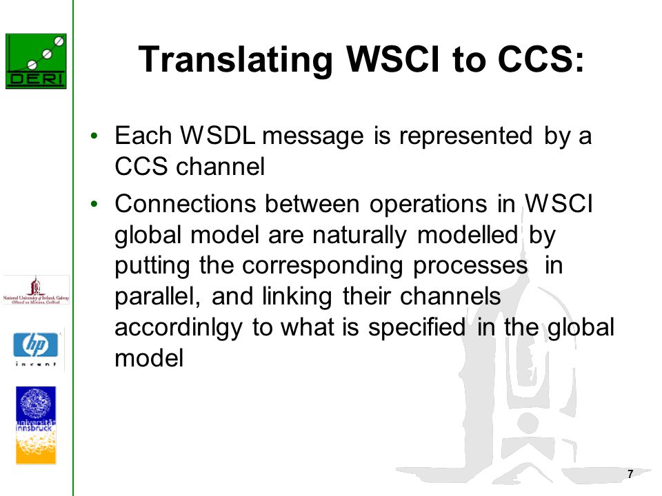 7 Translating WSCI to CCS: Each WSDL message is represented by a CCS channel Connections between operations in WSCI global model are naturally modelled by putting the corresponding processes in parallel, and linking their channels accordinlgy to what is specified in the global model