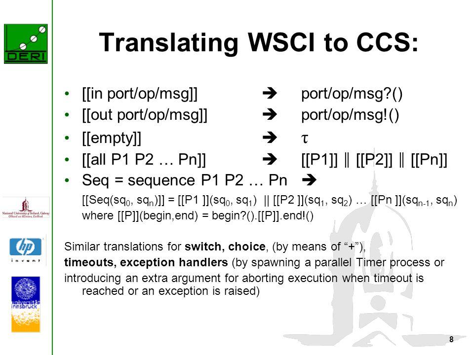 8 Translating WSCI to CCS: [[in port/op/msg]]  port/op/msg?() [[out port/op/msg]]  port/op/msg!() [[empty]]  τ [[all P1 P2 … Pn]]  [[P1]] ║ [[P2]]