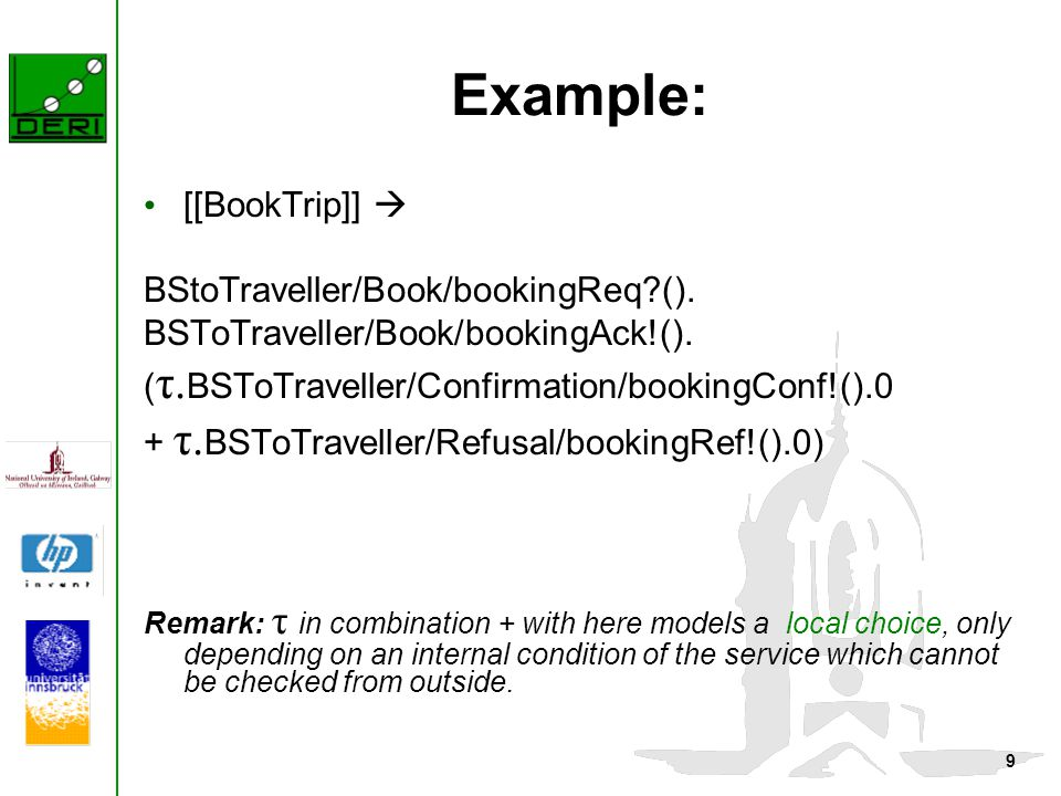9 Example: [[BookTrip]]  BStoTraveller/Book/bookingReq?(). BSToTraveller/Book/bookingAck!(). ( τ. BSToTraveller/Confirmation/bookingConf!().0 + τ. BS
