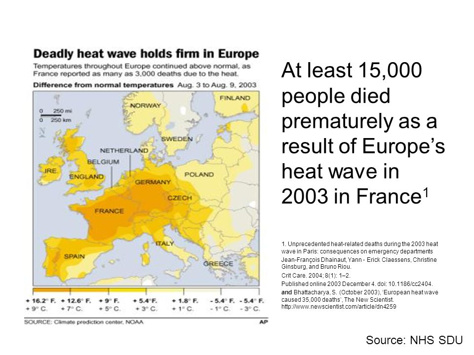 Source: NHS SDU At least 15,000 people died prematurely as a result of Europe's heat wave in 2003 in France 1 1. Unprecedented heat-related deaths dur