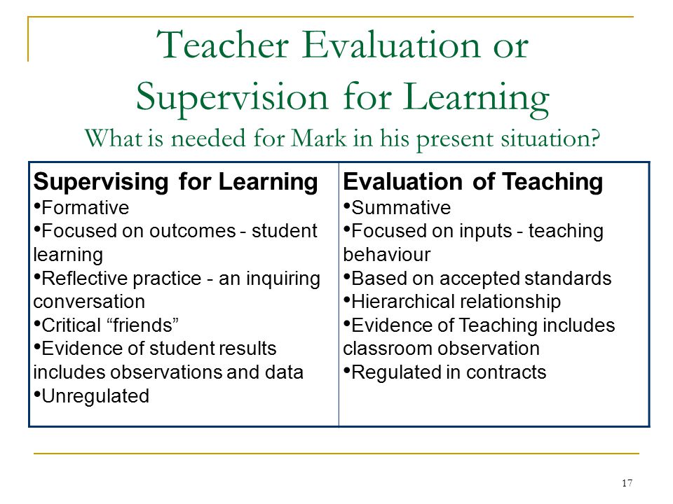 17 Teacher Evaluation or Supervision for Learning What is needed for Mark in his present situation.