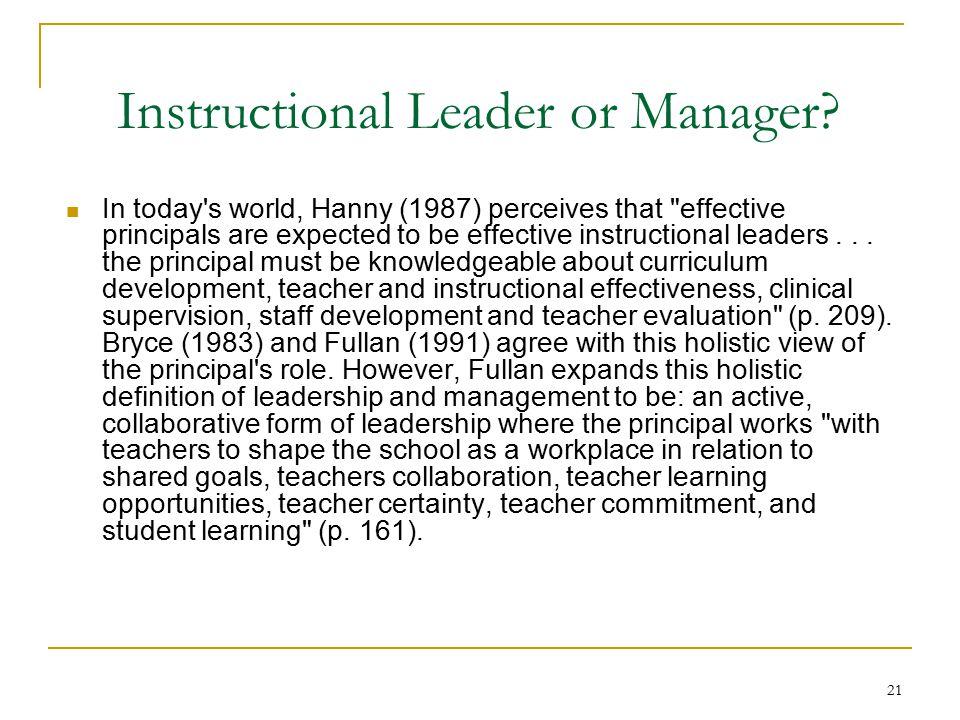 21 Instructional Leader or Manager.