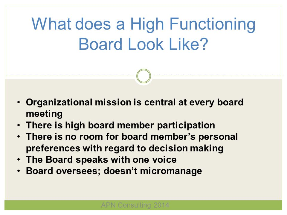 What does a High Functioning Board Look Like? Organizational mission is central at every board meeting There is high board member participation There