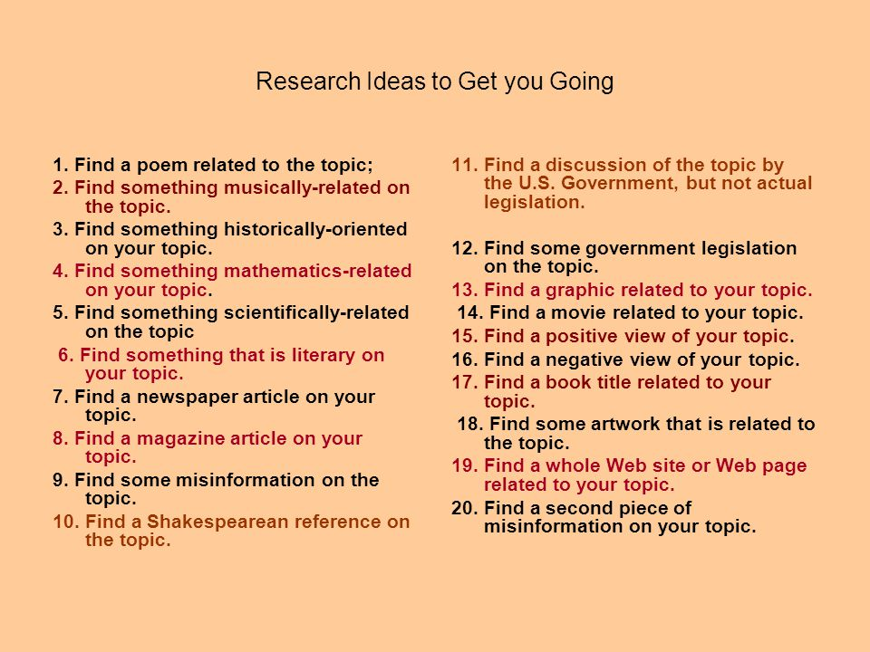 Research Ideas to Get you Going 1. Find a poem related to the topic; 2. Find something musically-related on the topic. 3. Find something historically-