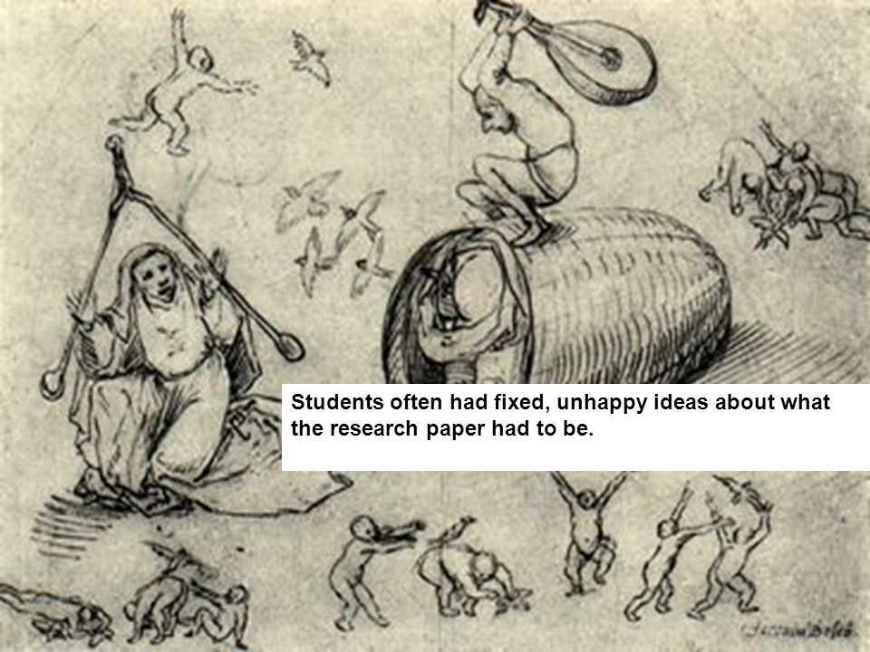 Students often had fixed, unhappy ideas about what the research paper had to be.