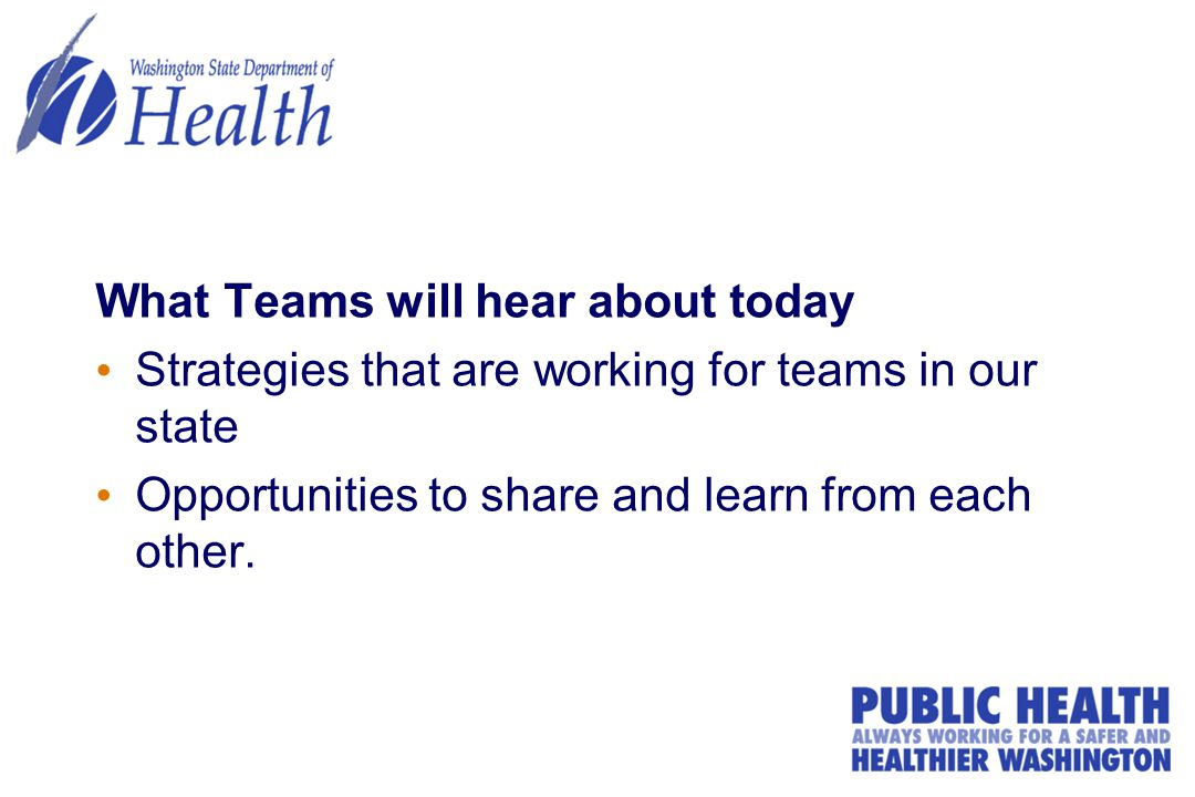 What Teams will hear about today Strategies that are working for teams in our state Opportunities to share and learn from each other.