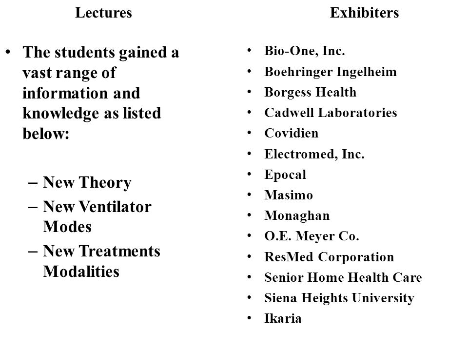 Lectures The students gained a vast range of information and knowledge as listed below: – New Theory – New Ventilator Modes – New Treatments Modalities Exhibiters Bio-One, Inc.