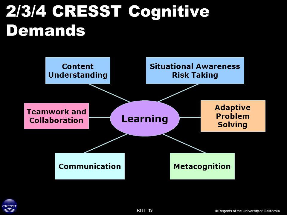 RTTT 19 2/3/4 CRESST Cognitive Demands Content Understanding Adaptive Problem Solving Teamwork and Collaboration MetacognitionCommunication Learning ©