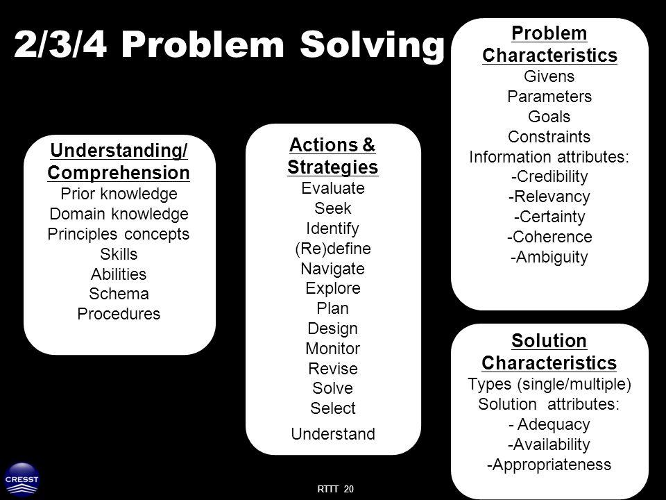 RTTT 20 2/3/4 Problem Solving Understanding/ Comprehension Prior knowledge Domain knowledge Principles concepts Skills Abilities Schema Procedures Pro