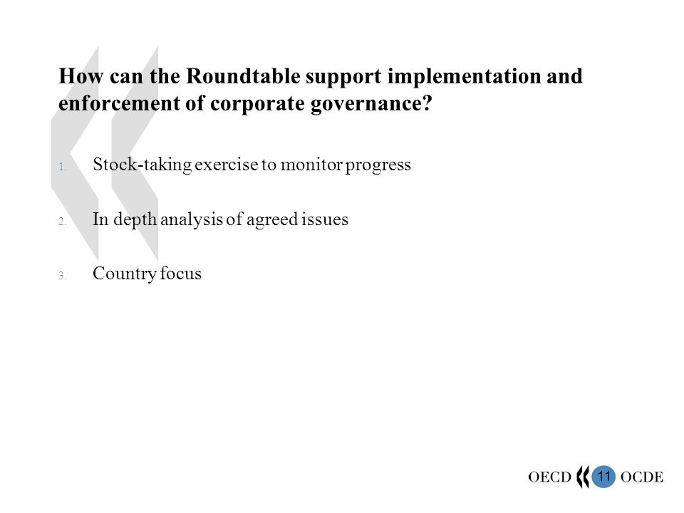 11 How can the Roundtable support implementation and enforcement of corporate governance.