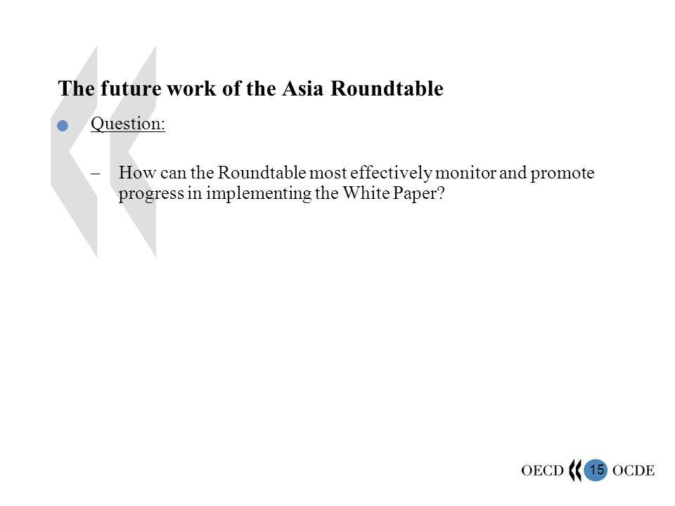 15 The future work of the Asia Roundtable Question: –How can the Roundtable most effectively monitor and promote progress in implementing the White Paper