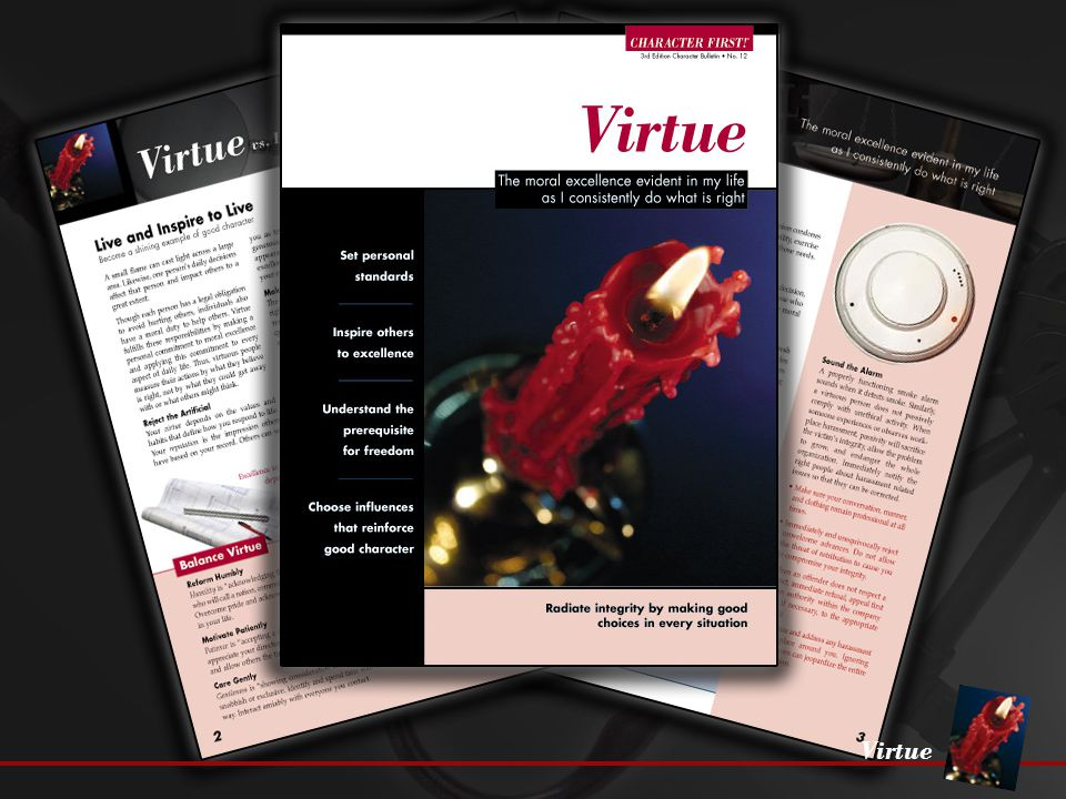 Virtue Set the Example Examine yourself for consistency with what you know is right.