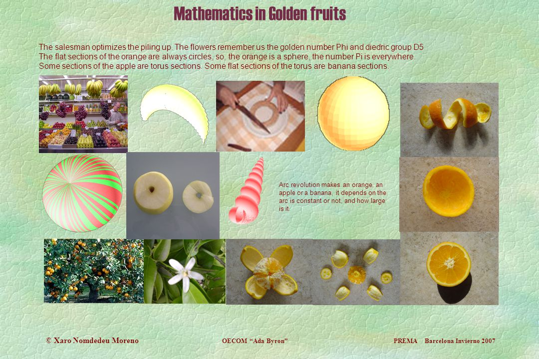 Mathematics in Golden fruits The salesman optimizes the piling up. The flowers remember us the golden number Phi and diedric group D5 The flat section