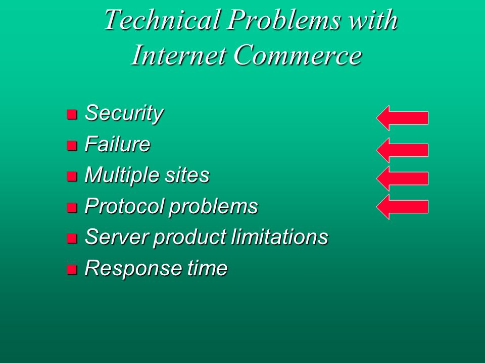 Technical Problems with Internet Commerce Technical Problems with Internet Commerce n Security n Failure n Multiple sites n Protocol problems n Server product limitations n Response time