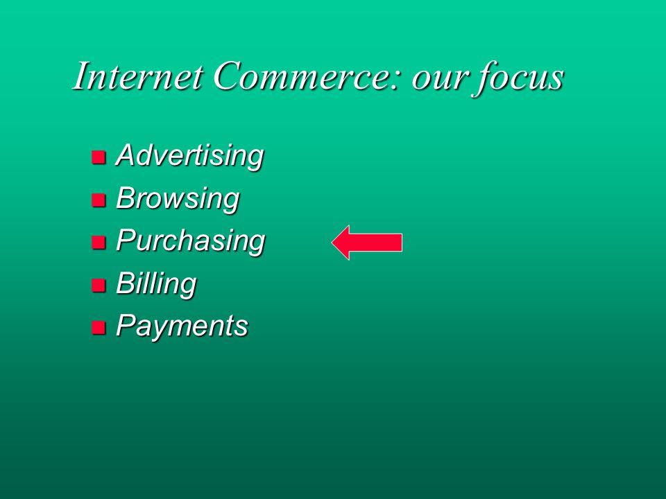 Internet Commerce: our focus Internet Commerce: our focus n Advertising n Browsing n Purchasing n Billing n Payments