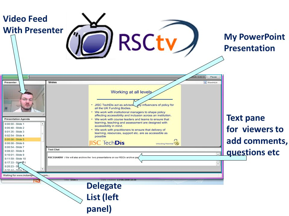Video Feed With Presenter Text pane for viewers to add comments, questions etc My PowerPoint Presentation Delegate List (left panel)