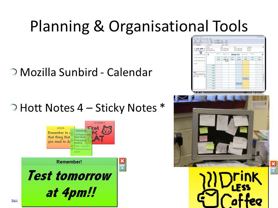 Planning & Organisational Tools Mozilla Sunbird - Calendar Hott Notes 4 – Sticky Notes * Back