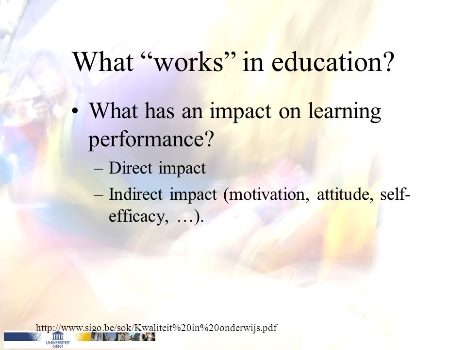 Certain intervention, process, variables, … Attitude Self-efficacy Motivation Beliefs ….