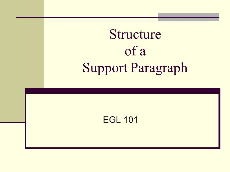 Structure of a Support Paragraph EGL 101