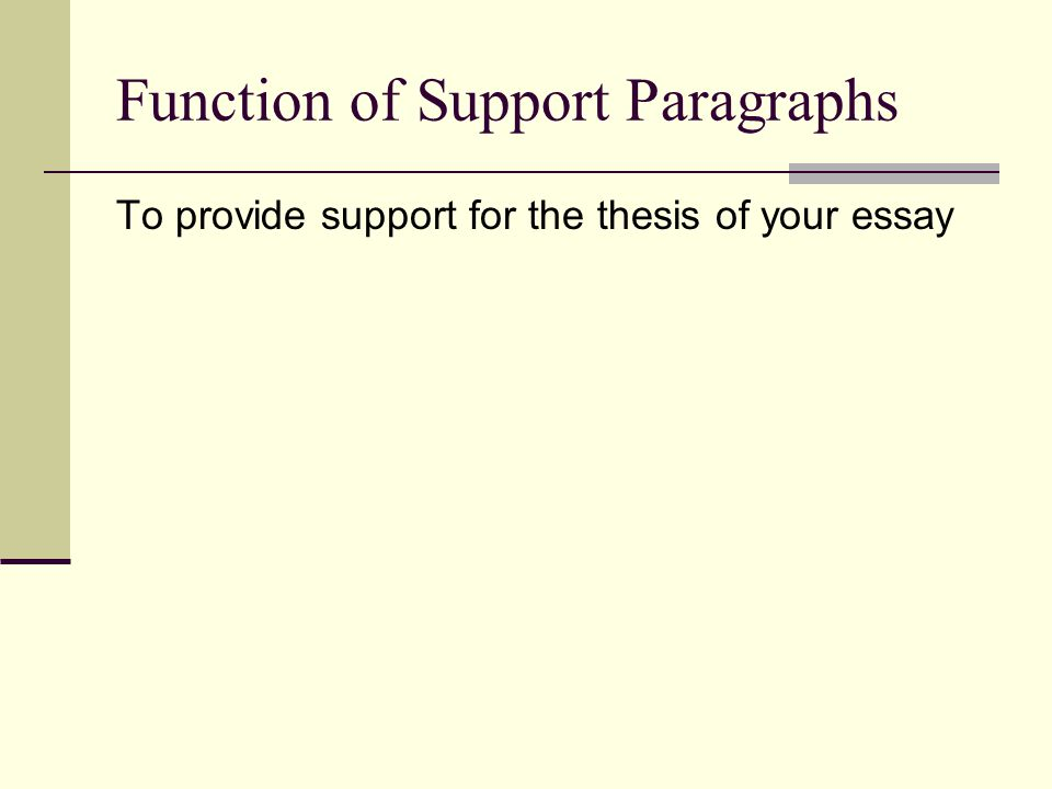 Function of Support Paragraphs To provide support for the thesis of your essay